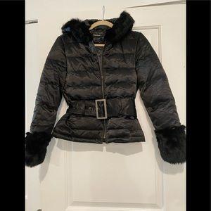 Bebe down faux fur trim jacket coat bomber belted